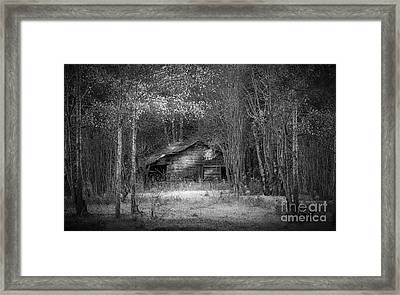 That Old Barn-bw Framed Print by Marvin Spates