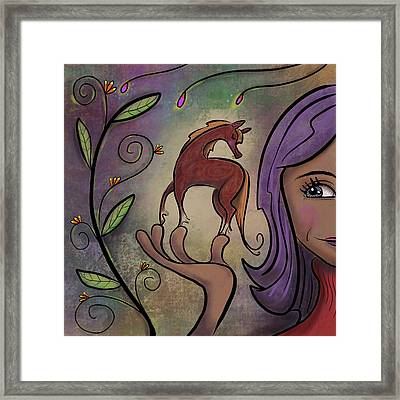 Framed Print featuring the painting That Pony's A Hnadfull by Marti McGinnis