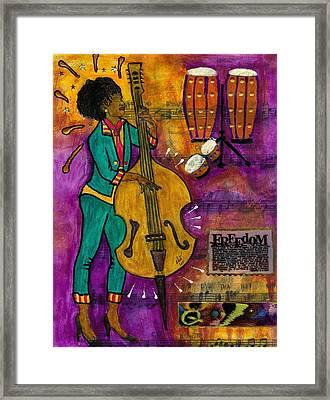 That Sistah On The Bass Framed Print by Angela L Walker