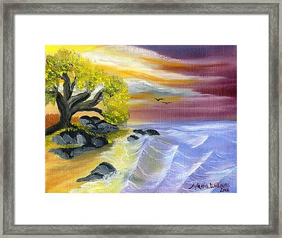 That Yellow Tree By The Sea Framed Print by Maria Williams