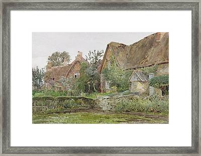 Thatched Cottages And Cottage Gardens Framed Print by John Fulleylove