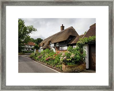 Thatched Cottages In Micheldever Framed Print