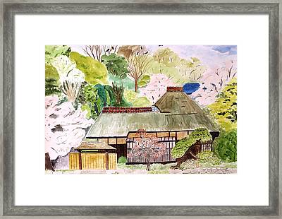 Thatched Japanese House Framed Print