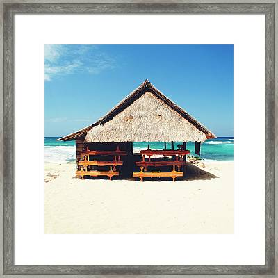 Thatched Roof Cottage/shack On A Perfect White Sand Tropical Beach Bali, Indonesia Framed Print
