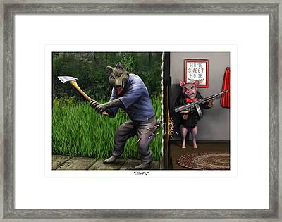 Framed Print featuring the painting That's What You Think Wolf by Dave Luebbert