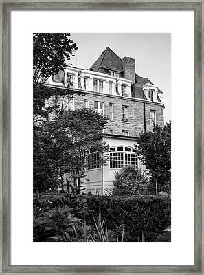 The 1886 Crescent Hotel Gardens - Eureka Springs Arkansas - Black And White Framed Print by Gregory Ballos