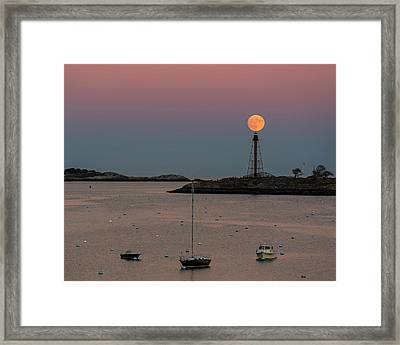 The 2016 Supermoon Balancing On The Marblehead Light Tower In Marblehead Ma Framed Print