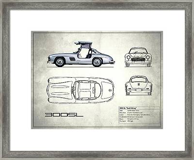 The 300 Sl Gullwing Blueprint - White Framed Print by Mark Rogan