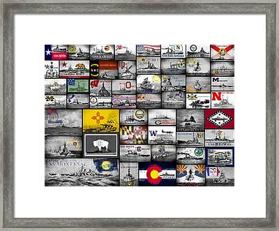 The 50 States And Their Battleships Framed Print
