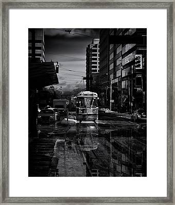 Framed Print featuring the photograph The 512 St. Clair Streetcar Toronto Canada Reflection by Brian Carson
