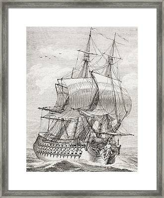 The 58 Gun Frigate Of The French Navy Framed Print by Vintage Design Pics