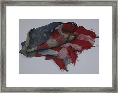 The 9 11 W T C Fallen Heros American Flag Framed Print