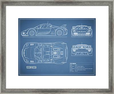 The 918 Spyder Blueprint Framed Print