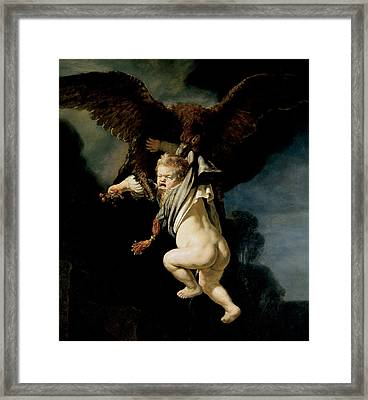 The Abduction Of Ganymede Framed Print by Rembrandt