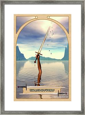 The Ace Of Swords Framed Print by John Edwards