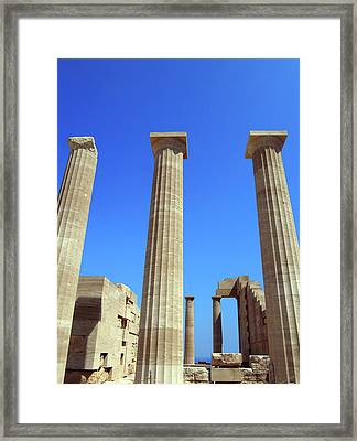 The Acropolis And Lindos In Rhodes With Columns And Ruins Framed Print