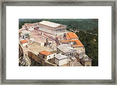 The Acropolis And Parthenon Framed Print by Roger Payne