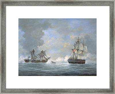 The Action Between Us Frigate United States And The British Frigate Macedonian Framed Print by Richard Willis
