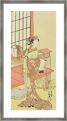 The Actor Segawa Kikunojo II, Possibly As Princess Ayaori In The Play Ima O Sakari Suehiro Genji  Framed Print