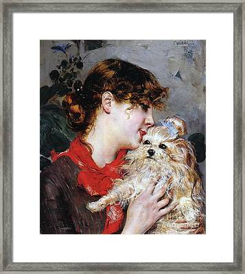 The Actress Rejane And Her Dog Framed Print