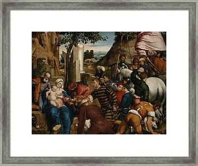 The Adoration Of The Kings Framed Print by Jacopo Bassano