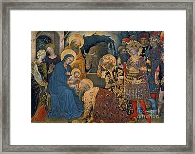 The Adoration Of The Magi, Detail Of Virgin And Child With Three Kings Framed Print