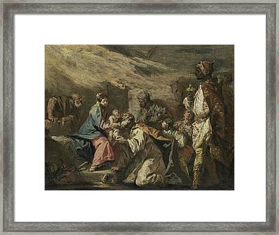 The Adoration Of The Magi Framed Print by Gaspare Diziani