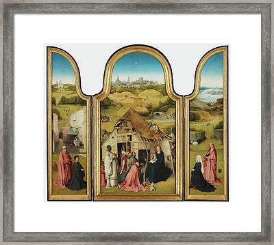 The Adoration Of The Magi Triptych Framed Print by Bosch Hieronymus