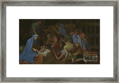 The Adoration Of The Shepherds Framed Print by Nicholas Poussin