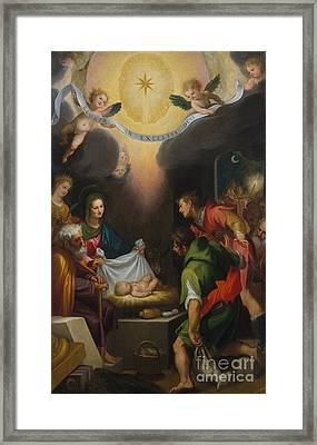 The Adoration Of The Shepherds With Saint Catherine Of Alexandria Framed Print