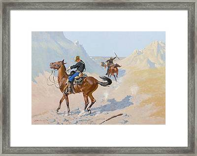 The Advance Guard Or The Military Sacrifice  The Ambush Framed Print by Frederic Remington