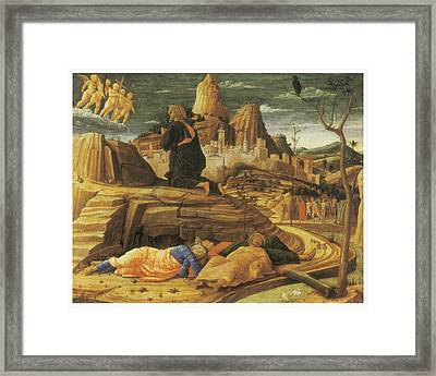 The Agony In The Garden Framed Print by Andrea Mantegna