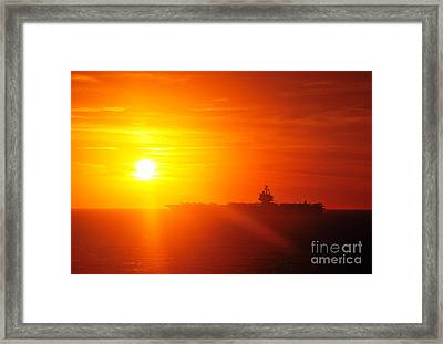 The Aircraft Carrier Uss Enterprise Is Underway Framed Print