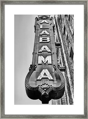 The Alabama Theater In Black And White Framed Print by JC Findley