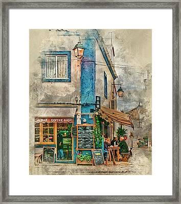 The Albar Coffee Shop In Alvor. Framed Print
