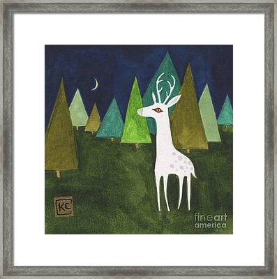 The Albino Deer Framed Print by Kate Cosgrove