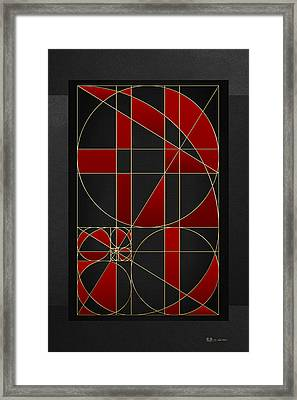 The Alchemy - Divine Proportions - Red On Black Framed Print by Serge Averbukh