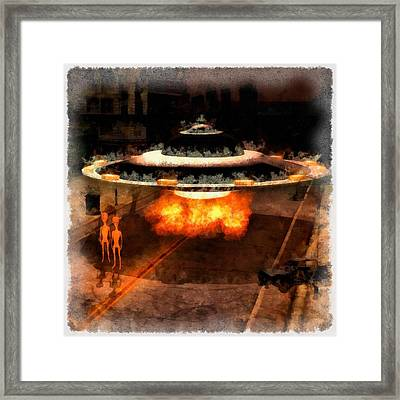 The Aliens Are Here Framed Print by Esoterica Art Agency