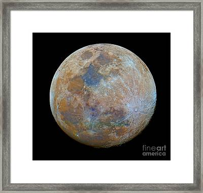 The Almost Full Moon In Color Framed Print by Luis Argerich