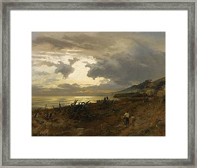The Amalfi Coast Framed Print by Oswald Achenbach
