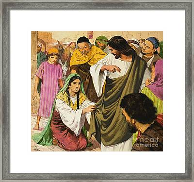 The Amazing Love Of Jesus  The Woman In The Crowd Framed Print by Clive Uptton