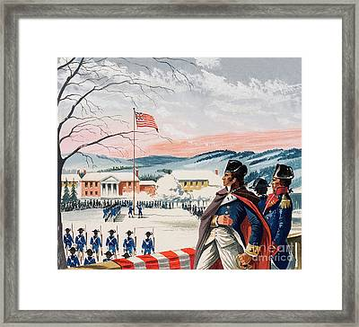 The American Forces Besieging Boston During The War Of Independence Raised A Flag On Prospect Hill Framed Print