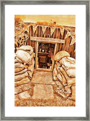 The Anderson Shelter By Sarah Kirk Framed Print