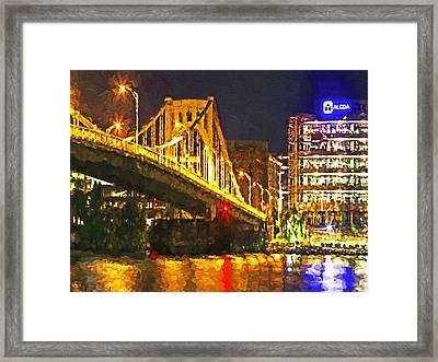 Framed Print featuring the digital art The Andy Warhol Bridge 1 by Digital Photographic Arts