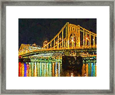 Framed Print featuring the digital art The Andy Warhol Bridge 2 by Digital Photographic Arts