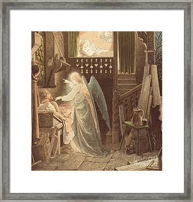 The Angel Appearing To Joseph Framed Print by Victor Paul Mohn