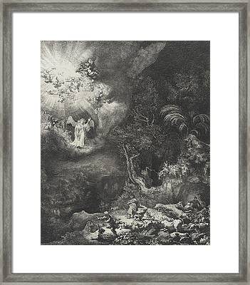 The Angel Appearing To The Shepherds Framed Print by Rembrandt