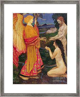 The Angel Offering The Fruits Of The Garden Of Eden To Adam And Eve Framed Print