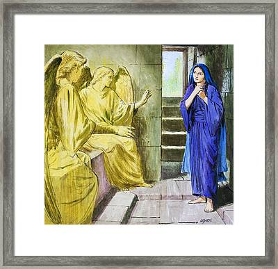 The Angels In The Tomb Framed Print by Clive Uptton