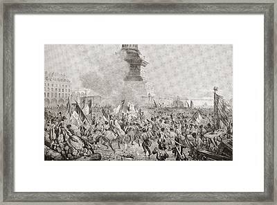 The Angry Paris Mob Burning The Royal Framed Print